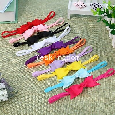 10x Newborn Baby Girl Infant Toddler Headband Bow Ribbon HairBand Accessory