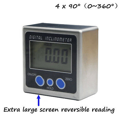 Angle Cube Digital Protractor Level Inclinometer Gauge Magnetic Base 0-360°
