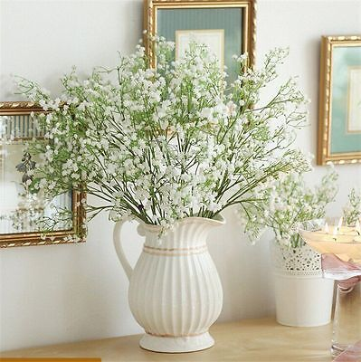 1x……Head Romantic Baby's Breath Gypsophila Silk Flower Party Wedding Home Decor