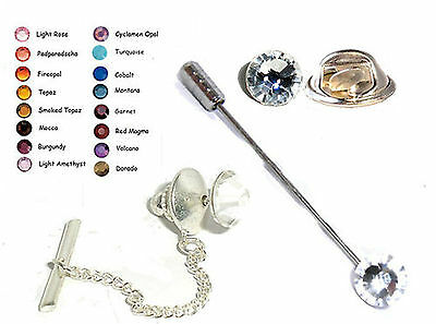 16 Colours Crystal Cravat Stick/Tack Lapel Tie Pin made with SWAROVSKI ELEMENTS