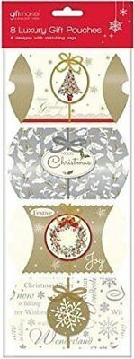 Pack of 8 Traditional Luxury Christmas Pillow Gift Pouches & Tags - 4 Designs