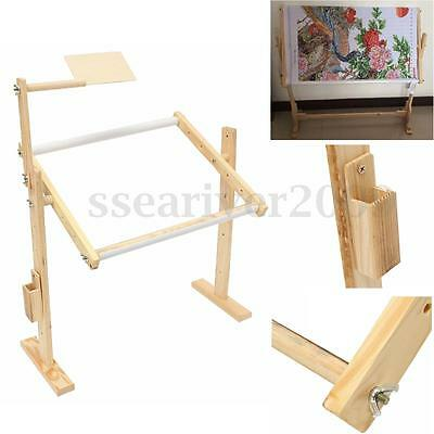 Wooden Frames Tabletop Cross Stitch Embroidery Floor Stand Holder Art Tool