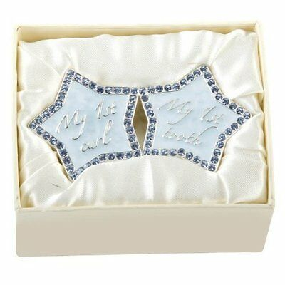Silver Plated Boy Tooth & Curl Star Box  Blue Diamante Christening Gift
