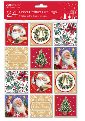 Pack Of 24 Traditional Hand Crafted Christmas Peel & Stick Gift Tags - 6 Designs