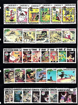 DISNEY CHRISTMAS Thematic STAMP Collection Mint DOMINICA GRENADA TURKS Re:TH588