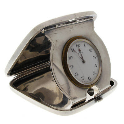 Concord 8 Day Travel Clock in Gorham Sterling Silver Art Deco Engraved Case
