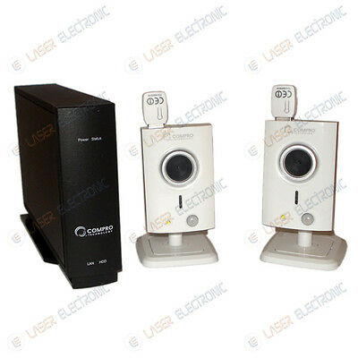 NVR Compro RS-2104 4CH + 2 Telecamere IP Wifi CS40 Wireless Led Visione Notturna