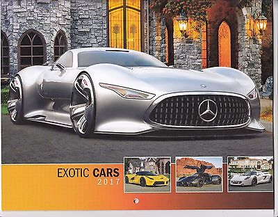 2017 Exotic Cars Wall Calendar Mercedes Benz Vision Concept On Cover-New