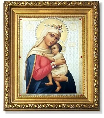Jeweled Gold Framed Russian Icon Madonna and Child Virgin Of Hope Christ Gift