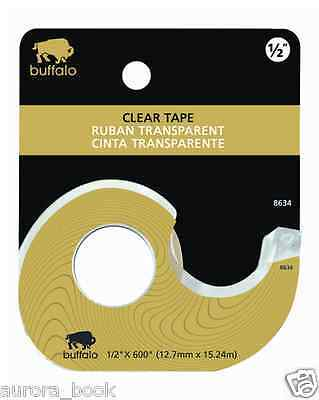 "Buffalo Natur Nature Brand Clear Tape with Dispenser 1/2"" x 600 Inches WA52389"