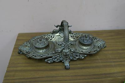 """Antique Vintage Ornate gilded Iron Double Inkwell Inkstand Tray Basket 5"""" x 14"""""""