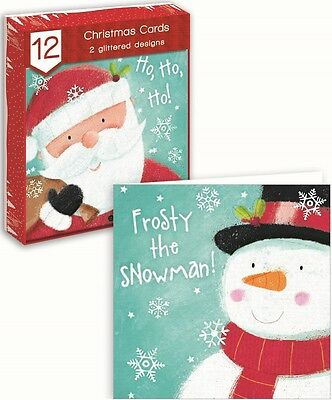 Pack Of 12 Square Christmas Cards - Cute Knitted Santa Claus, Snowman & Holly