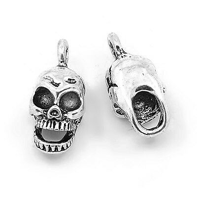 Pack of 20 x Antique Silver Tibetan 16mm Charms (SKULL) HA08130