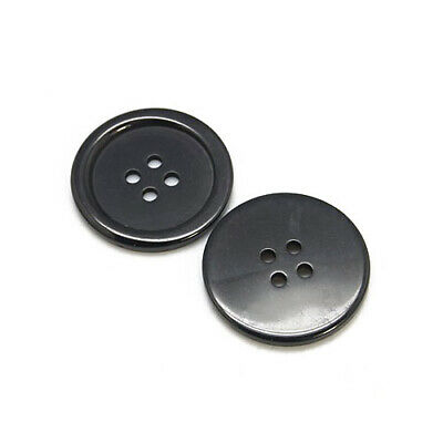 Packet 20 x Black Resin 20mm Round 4-Holed Sew On Buttons HA10725