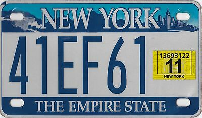 🌟🌟🎼🎶 🌟🌟 Authentic 2011 Usa New York Motorcycle License Plate.