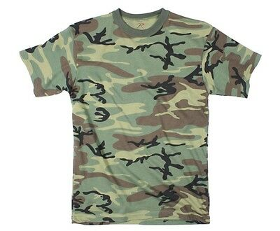 WOODLAND Camo T-Shirt Tactical Military Short Sleeve Army Quality ROTHCO 8777 Men's Clothing