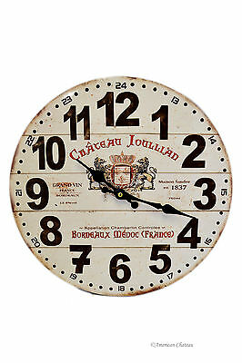 "14"" French Chateau Vintage-Style Wine Label Wall Clock Kitchen Home Decor"