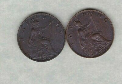 1901 Victoria Bronze Farthing In Near Mint Condition