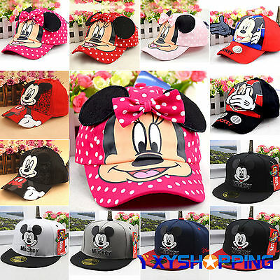 Kid Minnie Mickey Mouse Adjustable Baseball Cap Toddler Hip-Hop Snapback Sun Hat