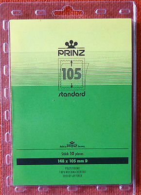 PRINZ Standard STAMP MOUNTS 105mm CLEAR Backing Pack of 10 Block 148mm x 105mm D