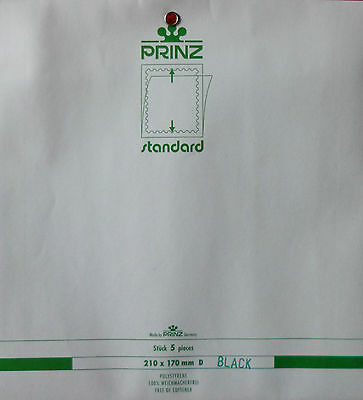 PRINZ Standard STAMP MOUNTS 210mm x 170mm D BLOCK SIZE BLACK Backing Pack of 5