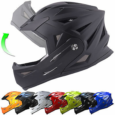 Tuzo Full Face Flip Up Front Downhill Trials BMX Mountain MTB Bike Cycle Helmet