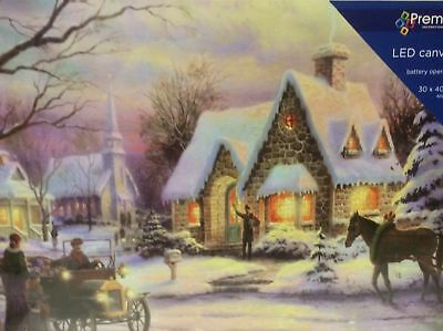 New 30x40 Canvas Print LED Lights Christmas Decoration CARRIAGE Batt-Op