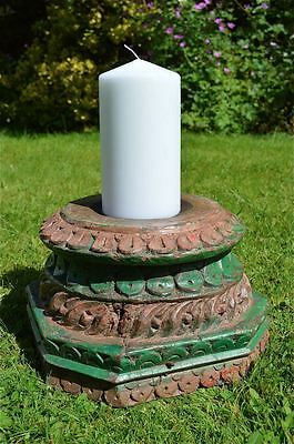 Large antique hand carved wooden column top candle stand solid teakwood MM8