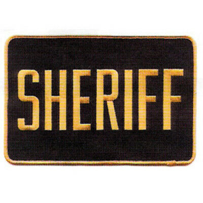 MEDIUM SHERIFF PATCH BADGE EMBLEM  5 inches x 7 1/2 inches GOLD / BLACK