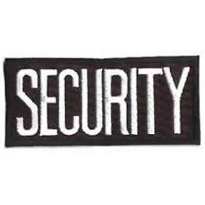 2 SMALL SECURITY PATCHES/ BADGE EMBLEM  4 1/4 inches x 2 inches WHITE/BLACK