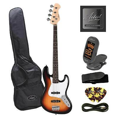 Artist JB2 Sunburst Electric Bass Guitar Plus Accessories - New