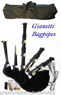 Gianetti Black Full Size Beginner  Bagpipe Bagpipes Synthetic Bag & Carry Bag