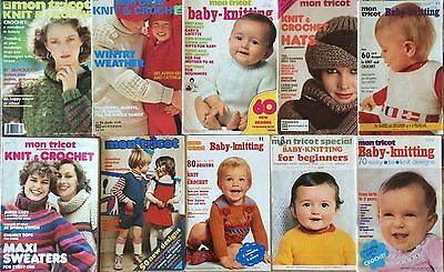 Lot of 10 Vintage Mon Tricot Knitting Pattern Books Mostly for Babies & Children