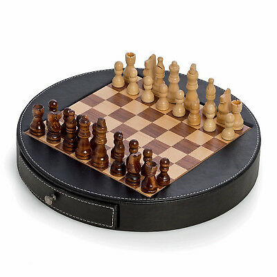 Games - Chess Set In Black Leather Wrapped Case