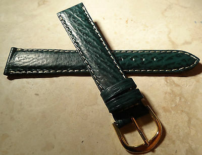 New Mens ZRC Made in France Green Shark Grain 18mm Watch Band Gold Tone Buckle