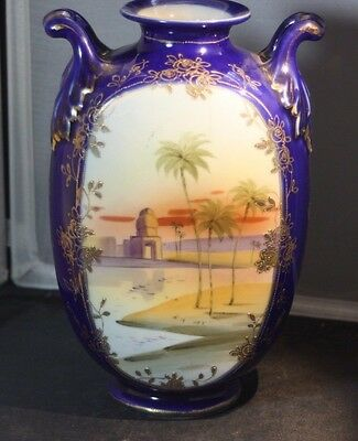 Vintage NIPPON Vase Desert Palm Trees Scenic Scene Gold Relief Royal Blue