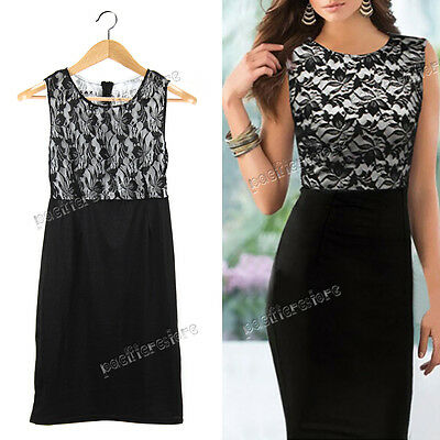 Womens Sexy Lace Sleeveless Slim Bodycon Cocktail Party Evening Dress Black NEW