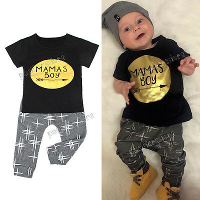 Newborn Baby Boys Kids Casual T-shirt Tops+Long Pants Outfits Clothes Sets 0-2Y