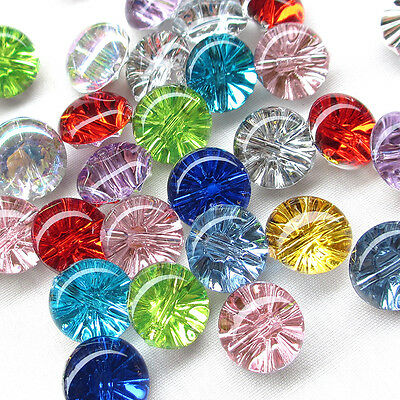 New 100/500PCS Clear Plastic Buttons Disco 13mm Sewing Craft