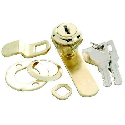 """Keyed 5/8"""" Cam Lock for Cabinet Door & Drawer 1/4"""" Max Thickness, Polished Brass"""