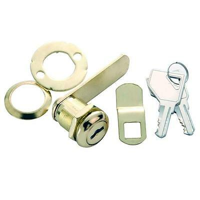 """Keyed 7/8"""" Cam Lock for Cabinet Door & Drawer 1/2"""" Max Thickness, Polished Brass"""