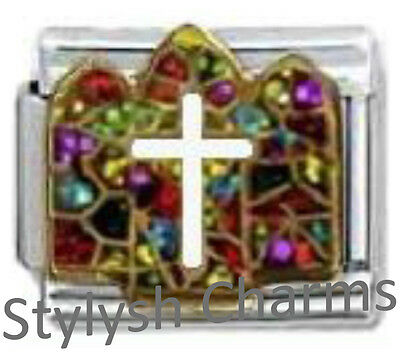 CHURCH STAINED GLASS WINDOW RELIGIOUS Enamel Italian Charm 9mm - 1x RE045 Link