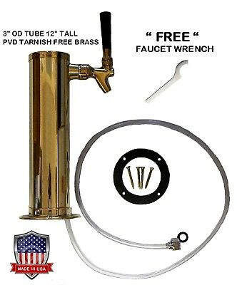 "1 Faucet Polished Brass 3"" Draft Beer Tower -D4743TBR-"