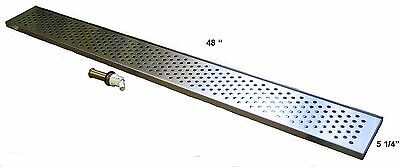 "Draft Beer Drip Trap 48"" x 5 1/4"" w/ s.s. grill and 4"" metal drain - DT48SS"