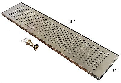 "Draft Beer Drip Trap 36"" x 8"" w/ S.S. Grill & 4"" Metal Drain - DTW-36SS"