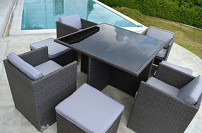 sitzgruppe 9 teilig gartengarnitur gartenm bel terrassenm bel rattan essgruppe eur 339 00. Black Bedroom Furniture Sets. Home Design Ideas
