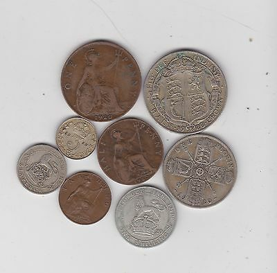 1920 George V Set Of 8 Coins In Fine Or Better Condition