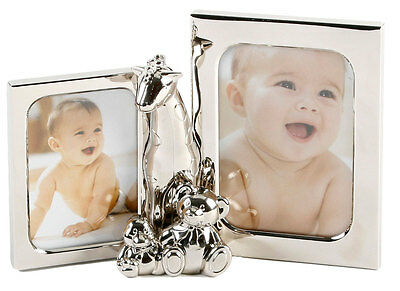 Silver Plated Double Photo Frame Giraffe + Teddies Picture Baby Christening Gift
