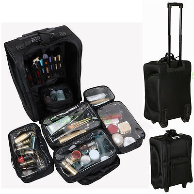 Professional Nylon Trolley Cosmetic Makeup Artist Case Organizer Portable Box