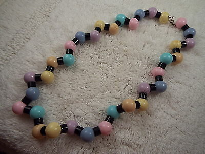 Black Pastel Bead Necklace (A47)